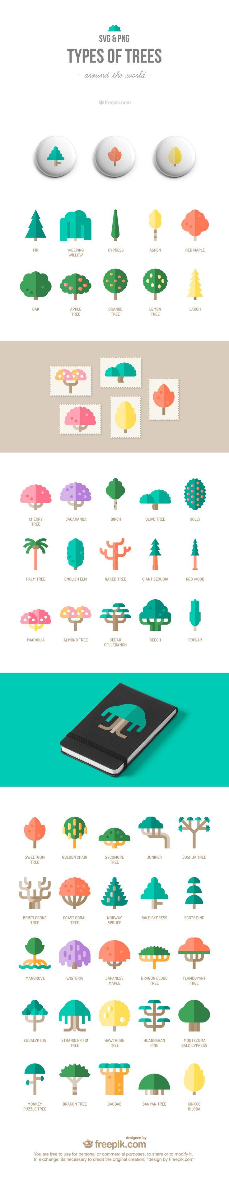 Free Icon Set : Trees on Behance