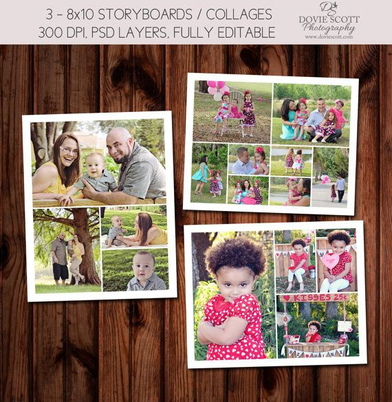 8x10 storyboard collage template set of 3 8x10 psd templates