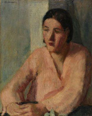 Felice Casorati (Novara, 1887 - Torino, 1963) DONNA CON LA CAMICETTA ROSA (ATTESA), 1931, Olio su tela, 54,5x43,5cm - Arte moderna e contemporanea da Pananti - ArtsLife | ArtsLife