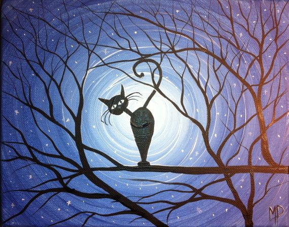 Original Whimsical Cat Painting Can I help you by MichaelHProsper
