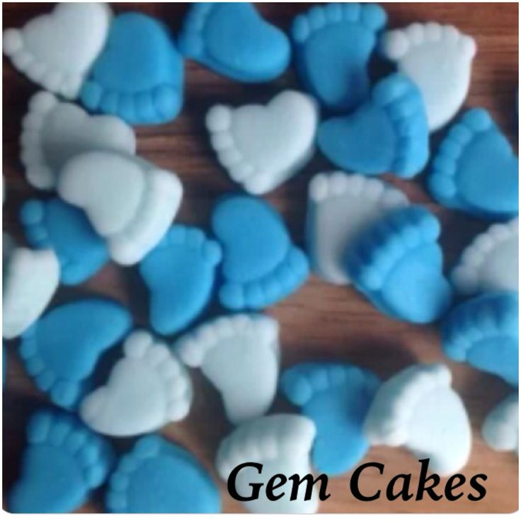 Edible baby Shower christening Blue mix baby feet cupcake toppers decorations for Boys