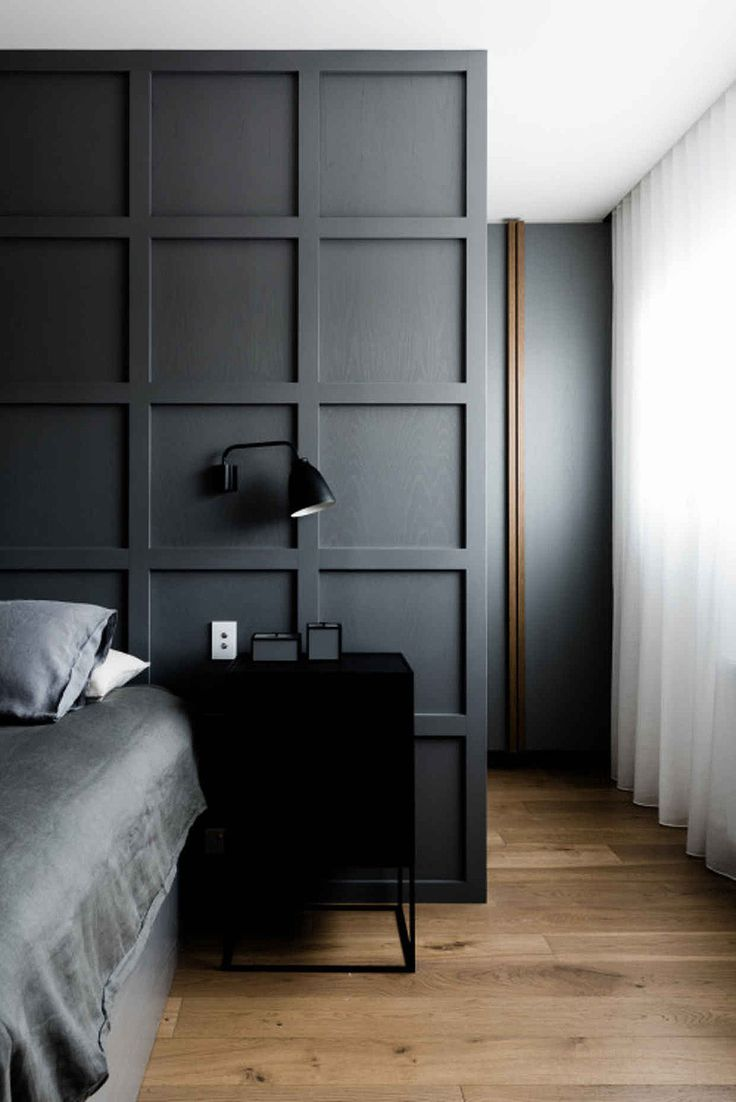 Dark bedroom Scandinavian style decor and interior panel wall