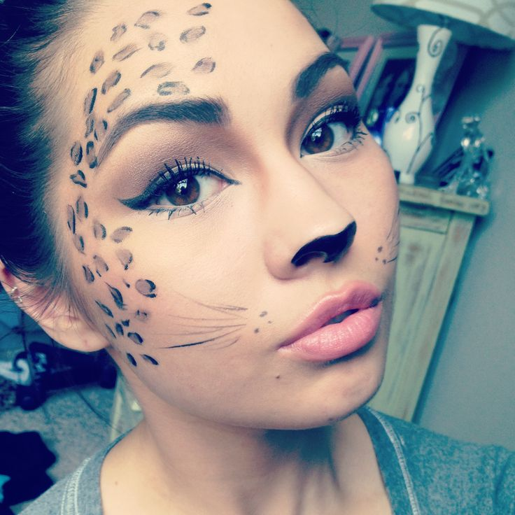 Leopard cat makeup for Halloween, meow:) for questions on products ...