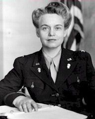 Colonel Oveta Culp Hobby, the first director of the Woman's Army Auxiliary Corps (WAAC) and Women's Army Corps (WAC) in WWII ~