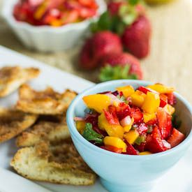 Strawberry Mango Salsa with Cinnamon Chips