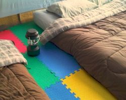 Use foam floor covering to make your tent less rocky and sharp, especially good for state parks where you have to pitch your tent on the gravel pad!