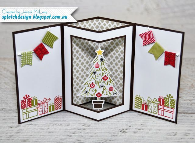 Splotch Design - Jacquii McLeay Independent Stampin' Up! Demonstrator: Spinner Shaker Card Tutorial - SU - Peaceful Pines - Christmas - Special Fold - inside