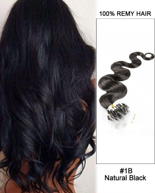 Wholesale #1B Natural Black 18'-24' Body Wave 100% Remy Hair Human Micro Loop Hair Extensions