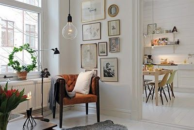 modern swedish styleSpaces, Hanging Lights, Chairs, Frames, Interiors, Reading Nooks, Gallery Wall, Design, White Wall