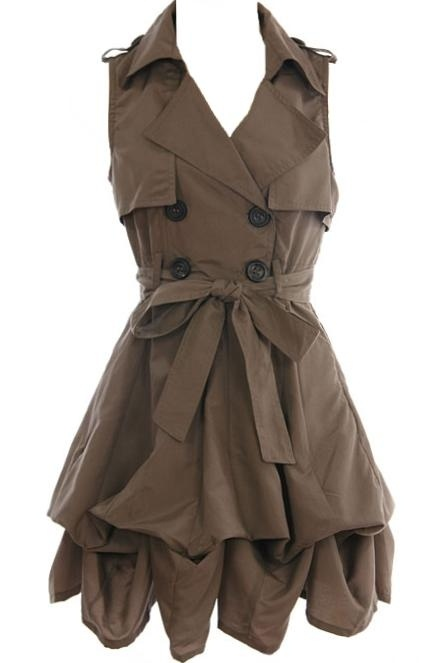 Trench Coat Inspired Bubble Dress