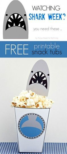 Free printable template - Shark Bait Snack Cups - perfect for #SharkWeek