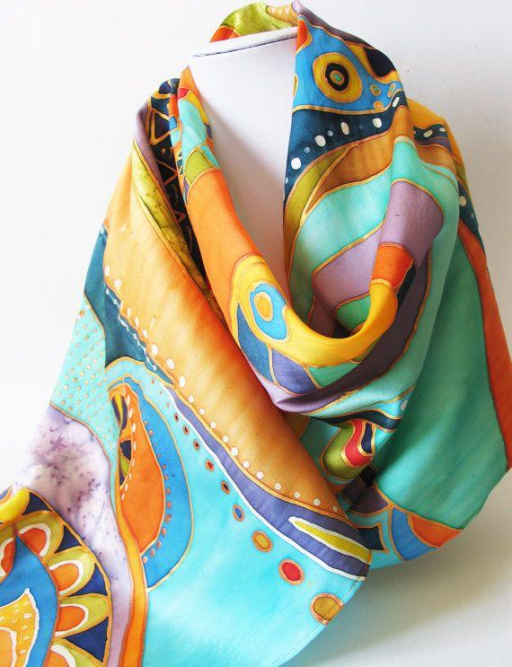 Cashmere Silk Scarf - Blue Kandkinsky Scarf by VIDA VIDA QFxEmS