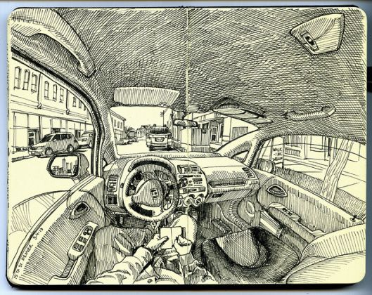 Inside the Car with Paul Heaston #sketchbook #drawing #draw