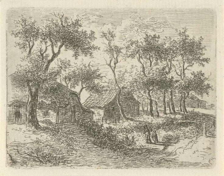 Gerrit Jan Michaëlis | Boerderijen tussen de bomen, Gerrit Jan Michaëlis, 1785 - 1857 | Tussen de bomen liggen twee boerderijen, waarvan de linker een dak van stro heeft. Op de voorgrond lopen een man en een kind.