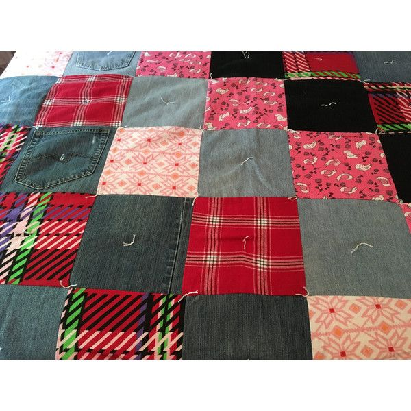 """DENIM Patchwork Quilt, Queen Size Quilt, Homemade Quilt, 87"""" x 93... ($349) ❤ liked on Polyvore featuring home, bed & bath, bedding, quilts, queen bed linens, queen bedding, denim bedding and patchwork bedding"""
