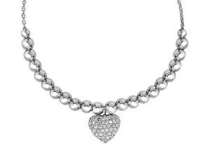 Sterling Silver Faceted Bead Adjustable Bead Bracelet with Cubic Zirconia Heart Charm