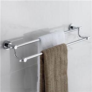 壁掛けタオルバー タオル掛け タオル収納 壁掛けハンガー 浴室収納 バスアクセサリー クロム