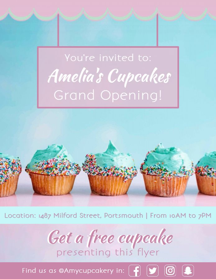 Bakery Cupcake Shop Grand Opening Poster Flyer Design Template