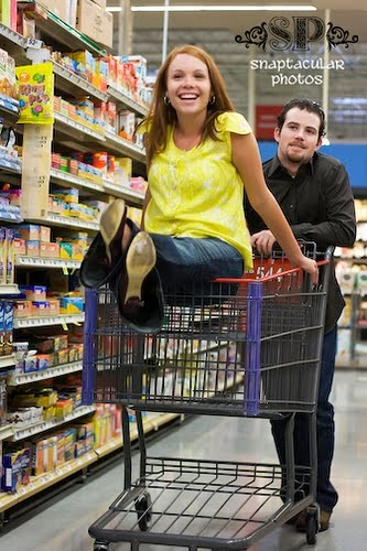 Grocery Cart Engagement Shoot (Snaptacular Photography)