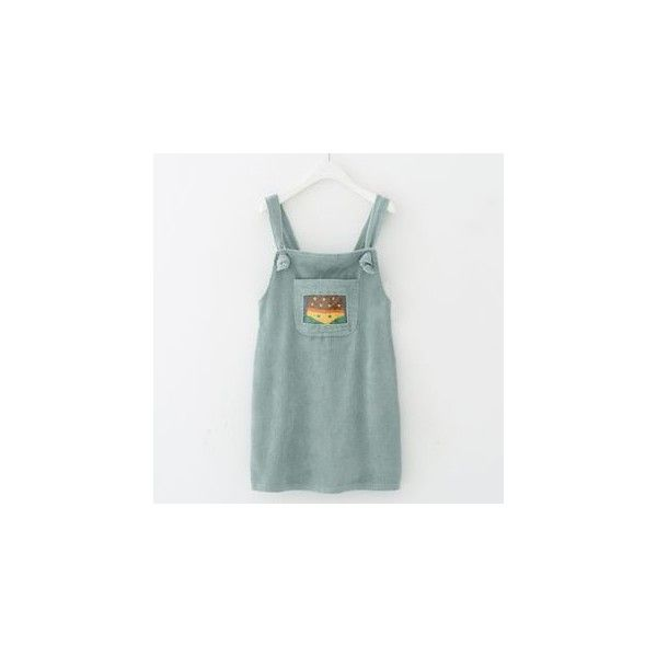 Corduroy Pinafore Dress (€22) ❤ liked on Polyvore featuring dresses, women, pinny dress, green dress, corduroy dress, green pinafore dress and pinafore dresses