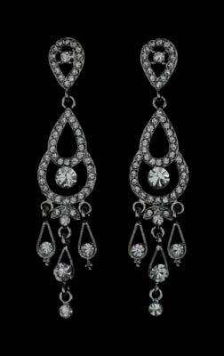 Silver and Rhinestone Bridal Earrings