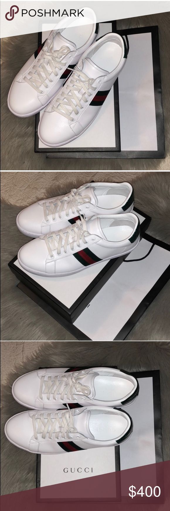 Gucci Plain Ace Leather Sneakers Size: US 10 Condition: 9/10. Worn literally once!    * Ships the same or next business day EXCLUDING weekends.   * No pricing discussions, submit offer if you are serious. Comments will not be responded & no trades!   Ignore: Supreme Bape Louis Vuitton Chanel Goyard Chanel Gucci Givenchy Nike Adidas J Crew Yeezy Card Wallet Vintage Burch Zara Balenciaga LV Snake  Purse Crossbody Sandals Jacket Shark Burberry Nordstorm Luluemon Fendi Sneakers Heels Ralph…