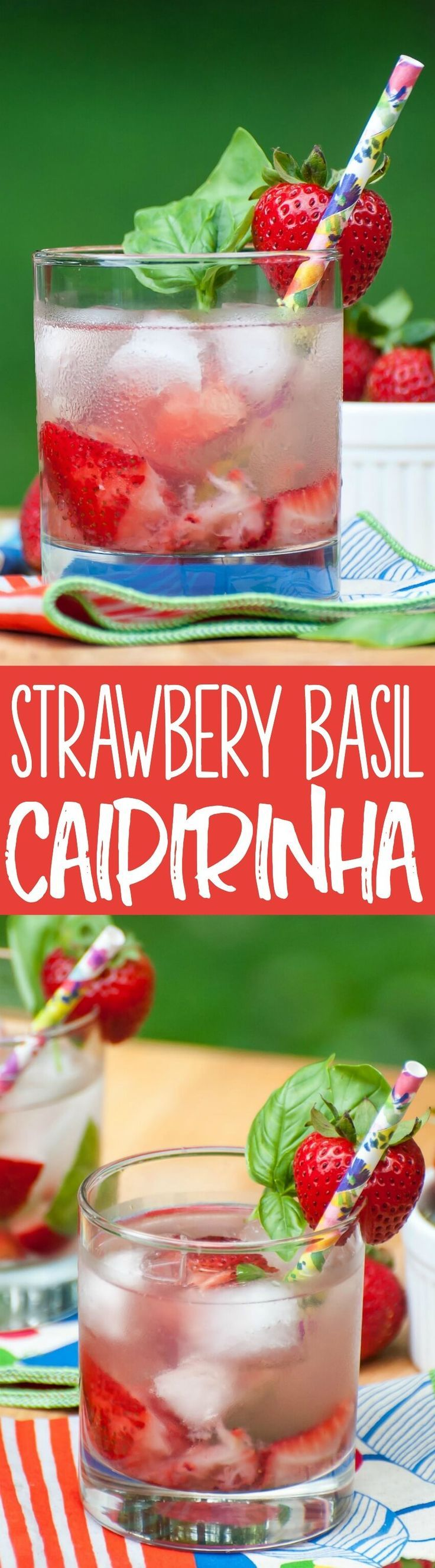 This Brazillian Strawberry Basil Caipirinha cocktail tastes like Summer in a glass!
