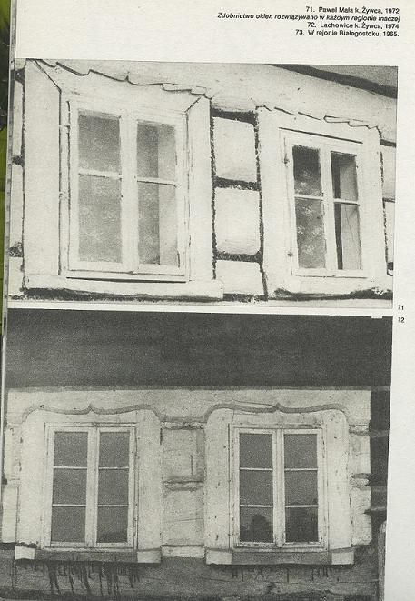 Late gothic (upper) and renaissance (lower) wooden windows in Poland.
