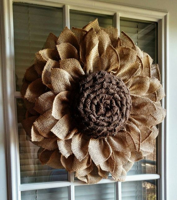 Rustic burlap sunflower by JFPrettyLittleThings on Etsy