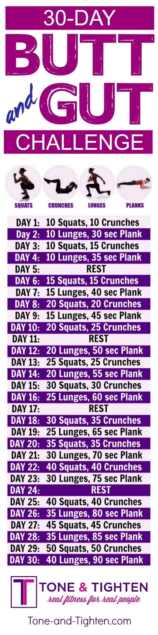 30-Day butt and abs workout challenge you can do from home! | Tone-and-Tighten.com #weightlossbeforeandafter