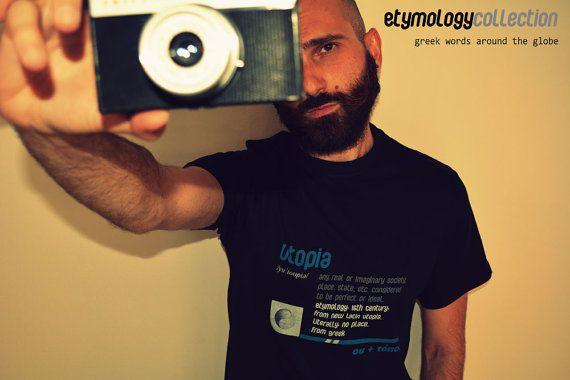 men's t-shirt utopia / greek eymology by etymologydesign on Etsy
