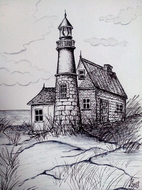 Clouds Above The Lighthouse Lighthouse Drawing Pencil Art Drawings Landscape Drawings