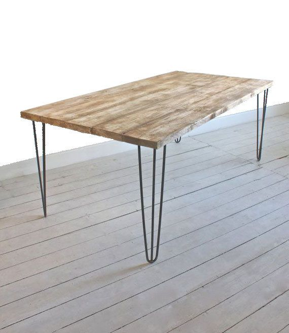 Vintage Hairpin Leg Rustic Reclaimed Industrial Dining Kitchen Table Handmade Made in UK