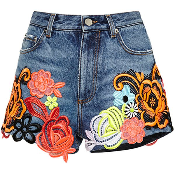 Christopher Kane Denim Shorts With Floral Motif Applique ($1,090) found on Polyvore