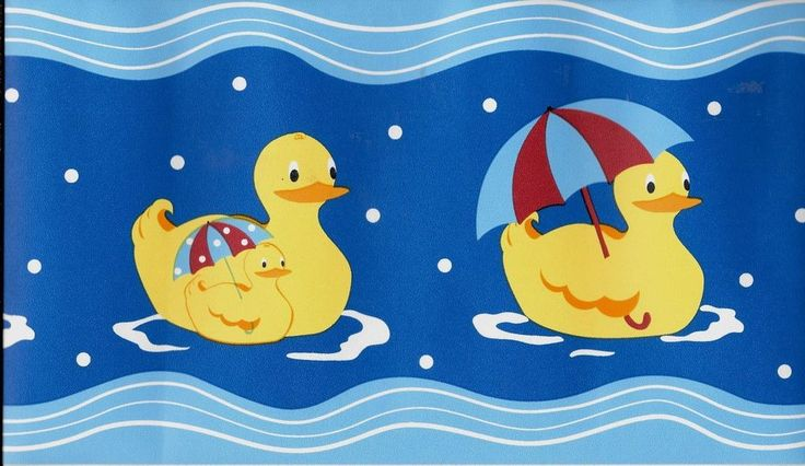 Yellow Duckies on Blue with Dots WALLPAPER BORDER #Unbranded