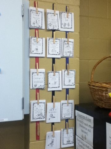 hot glue clothes pins to ribbon! Could use for displaying student work or even No Name work.