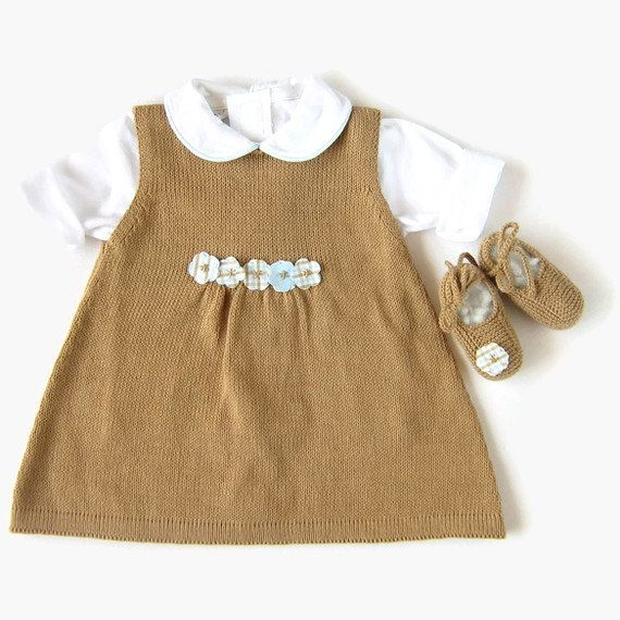 Knitted dress coat and shoes set for baby girl in by tenderblue, $84.00