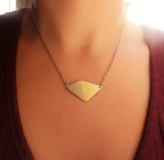 Rhombus necklace/pendant/marriage of metals jewelry/ by DimiCiar