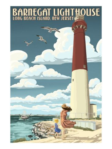 Barnegat Lighthouse Long Beach Island, New Jersey - Vintage Poster