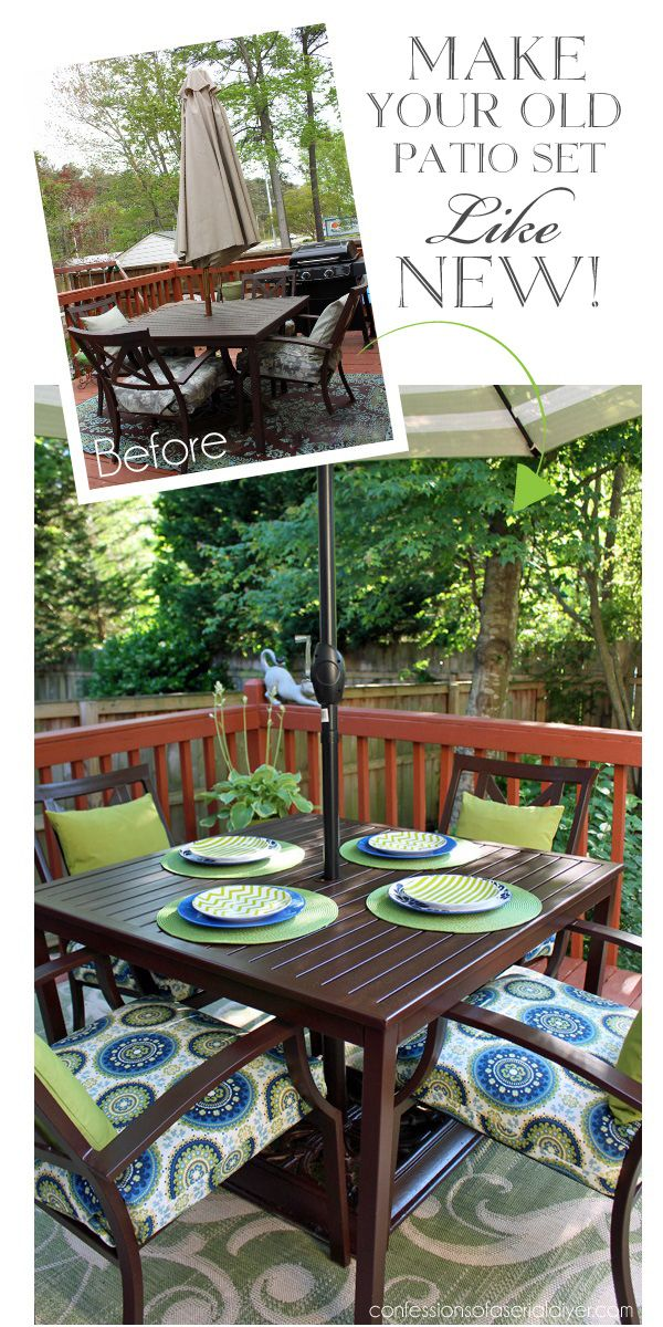 Patio Set Makeover using my Sew EASY Cushion Cover tutorial.