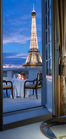 Glorious view of the Eiffel Tower from the Shangri-La Hotel in Paris