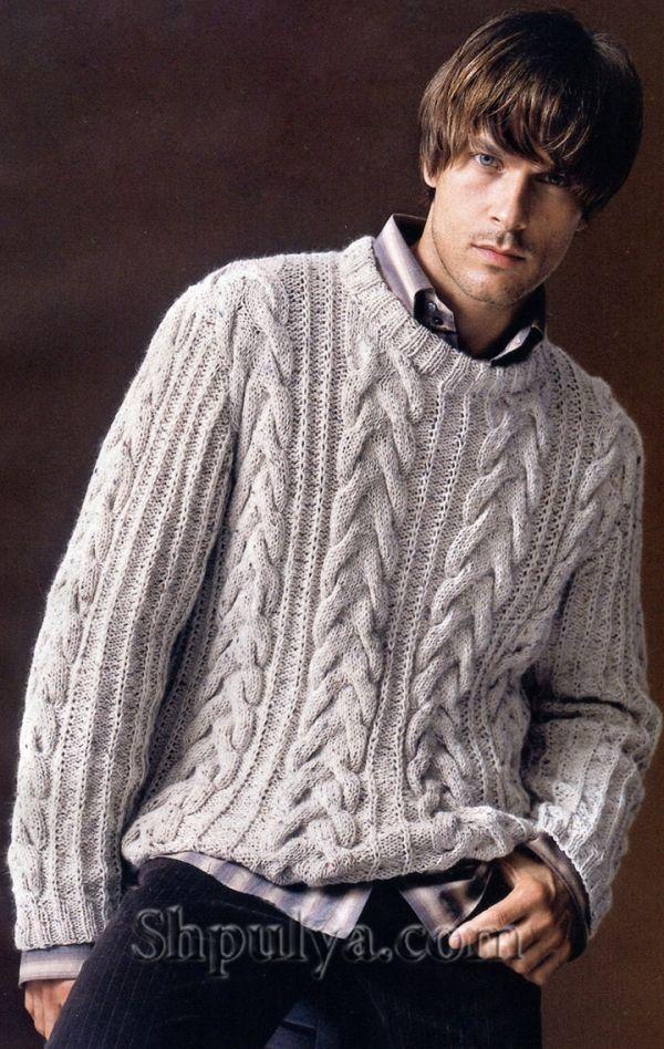 Мужской пуловер с узором из кос, вязаный спицами