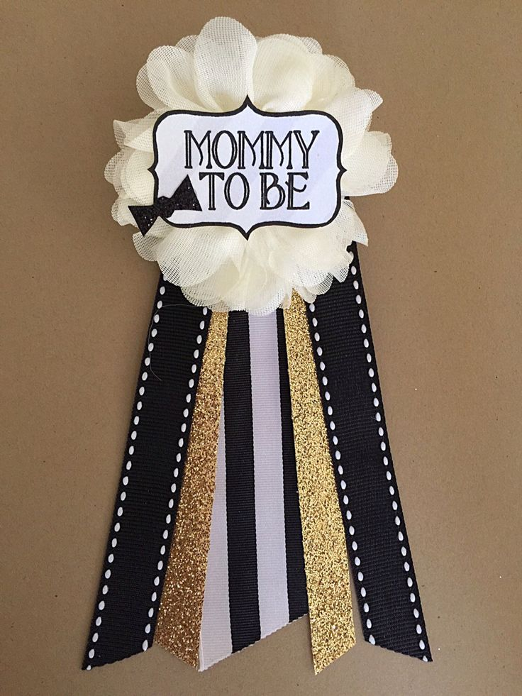 Baby Boy Bowtie Baby Shower Pin Mommy To Be Pin Flower Ribbon Pin Corsage  Glitter Rhinestone Mommy Mom New Mom Gold Black White