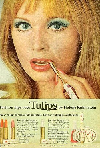 Helena Rubenstein ad, 1960s.  Love the tulip packaging!