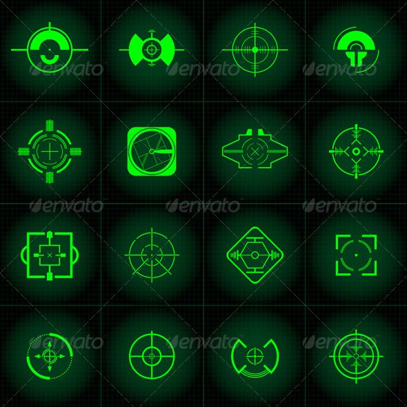 Gun Sights   #GraphicRiver         These clean gun sights can be used for many things. Web design, print or even gaming. Go on, put a bullet in something today.  	 Enjoy!     Created: 4November10 GraphicsFilesIncluded: AIIllustrator #VectorEPS Layered: Yes Tags: black #clean #gaming #green #gun #military #mobilegaming #shoot