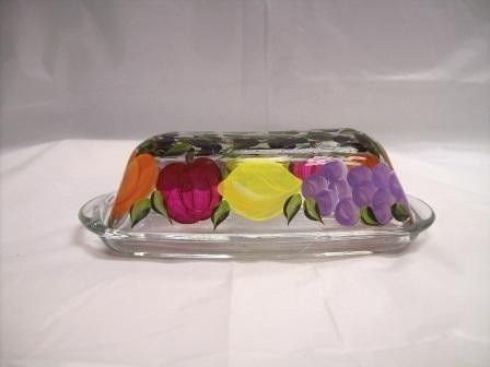 Hand Painted Butter Dish Tuscun Fruit Covered Butter Dish