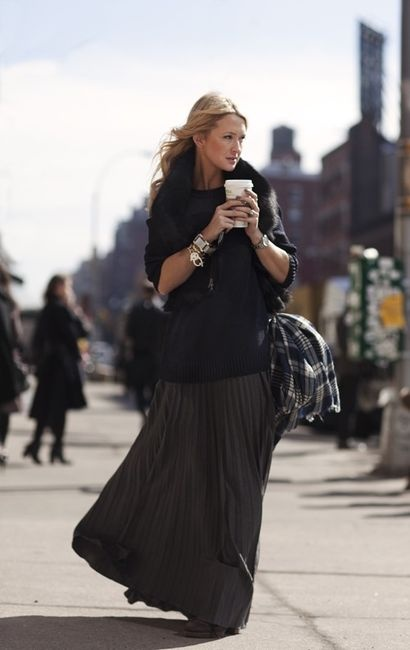 love maxi skirts with chunky sweaters