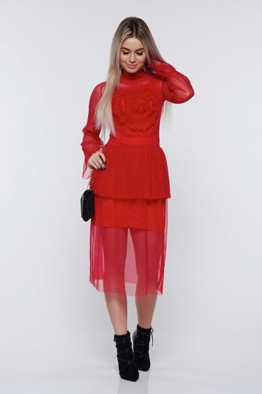 Rochie PrettyGirl rosie de ocazie din tul captusita pe interior - Rochie dublata alcatuita dintr-o rochie din jersey elastic cu suprapunere de tul transparent. O rochie cu un design deosebit.