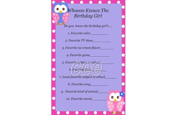 Owl Birthday Game Owl Party Game For Girl by KidsPrintablesByCee, $5.00
