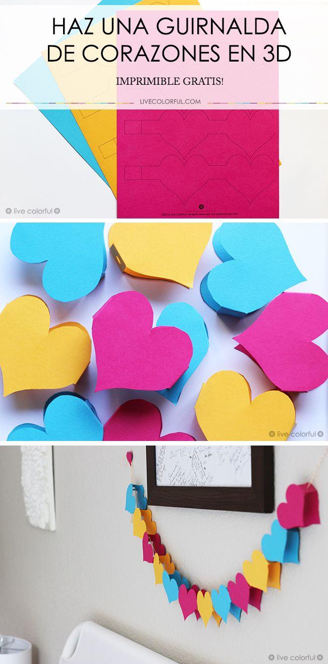 Haz una guirnalda colorida y en 3D para sorprender a tu novio, esposo o decorar tu cuarto este mes del amor y la amistad. No te pierdas el imprimible gratis en LiveColorful.com. Feliz San Valentín!